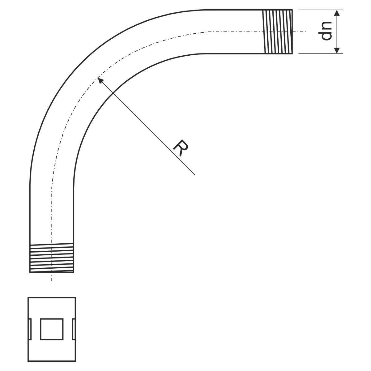 6142 ZN_F Коліно для сталевої різьбової труби гарячої оцинковки (CSN)