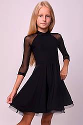 Платье с рукавами из сетки