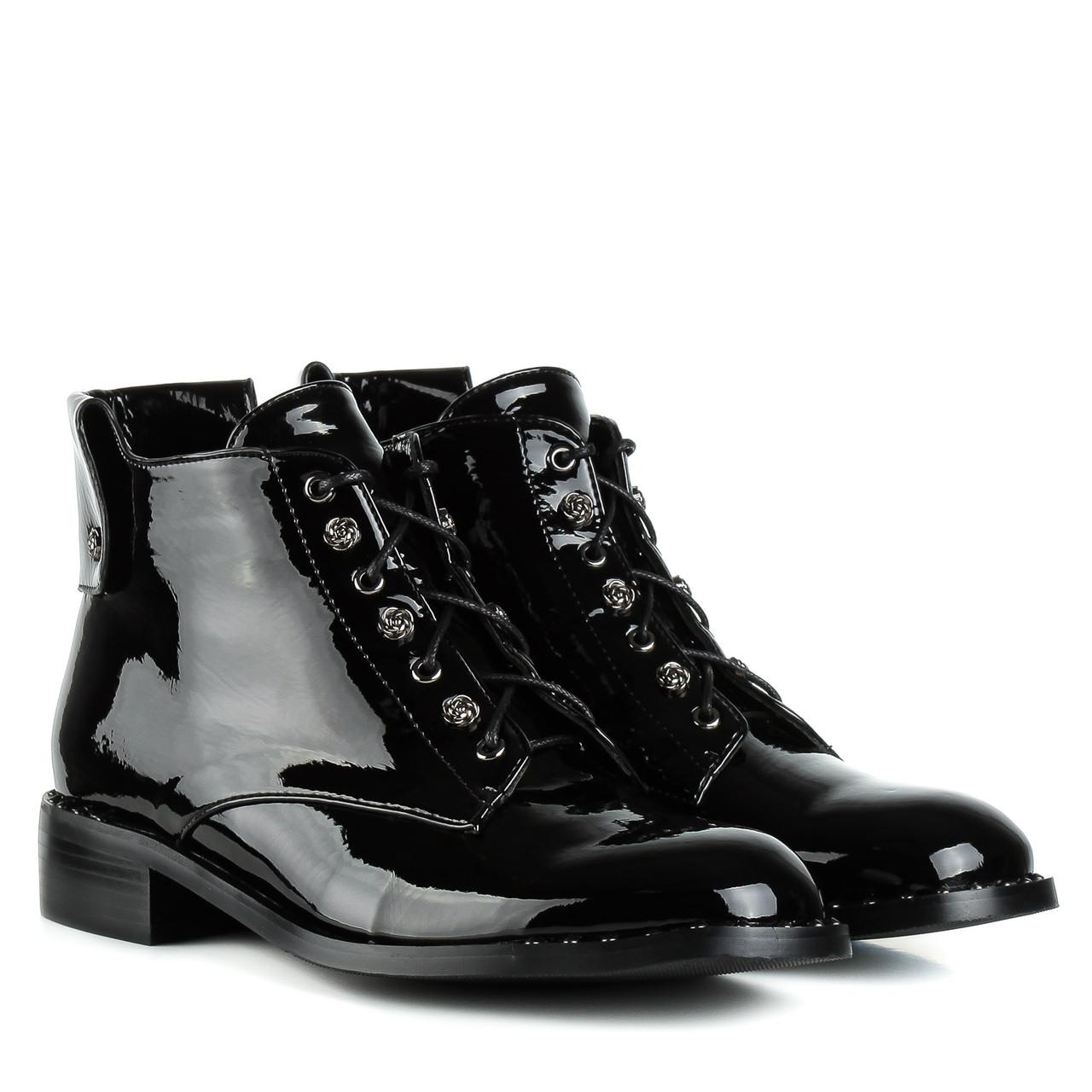 Ботинки женские SP LION (черные, стильные, удобные)