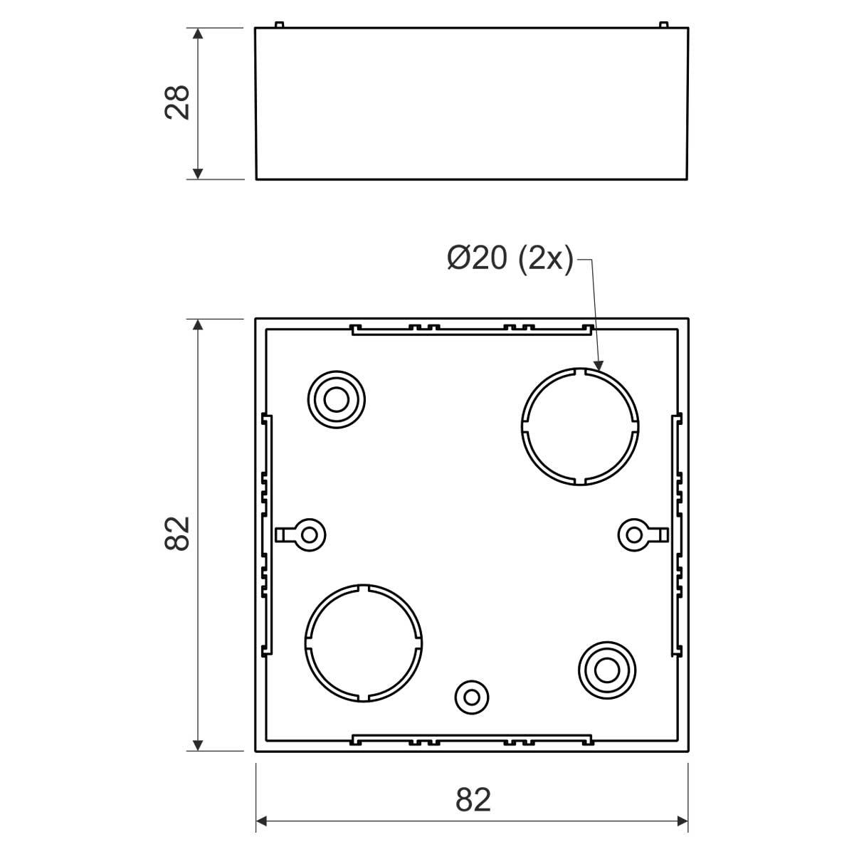 Коробка приладова  ПВХ; розміри 82х82х28мм