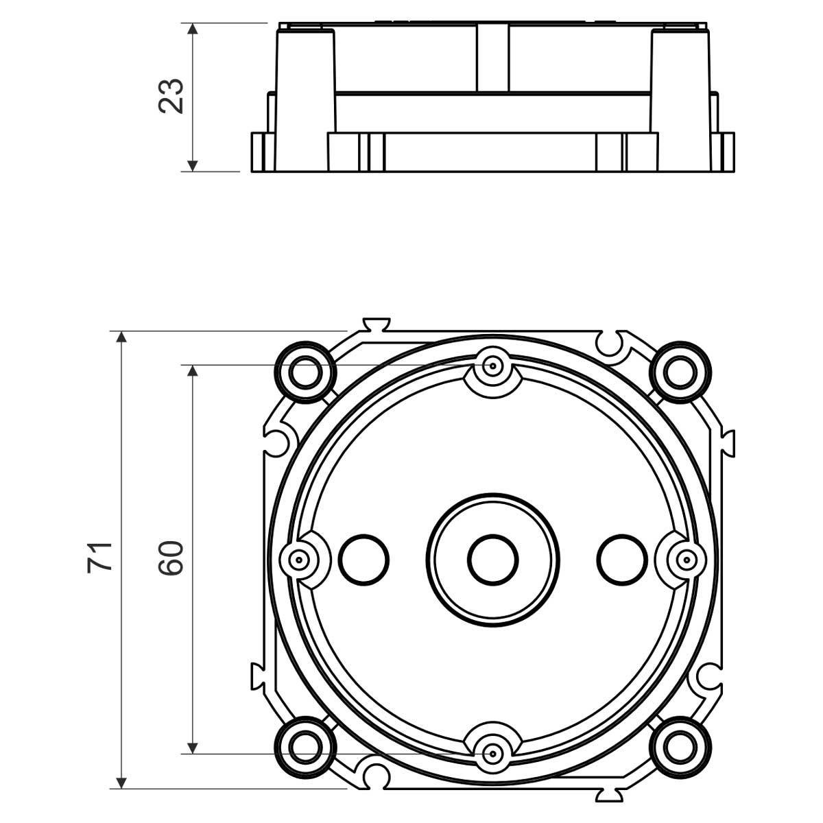 Кришка коробки для монолітного бетонобудування; РР; світло-сіра; 71х60х23мм