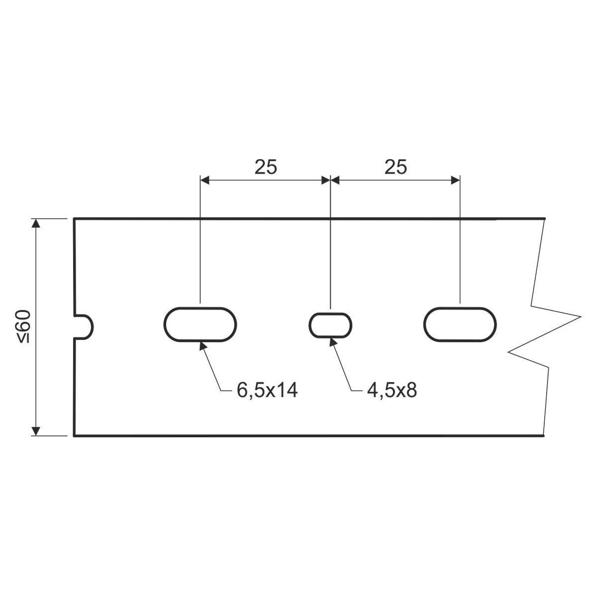 Кабельний канал перфорований 40х60мм; довжина 2м.ш.ребра-5,5мм;між ребрами- 4,5мм;  ПВХ; сірий