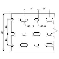 Кабельний канал перфорований DIN  75х75мм; довжина 2м.ш.ребра-7,5мм;між ребрами- 5мм;  ПВХ; сірий