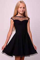 Платье с сеткой в точку