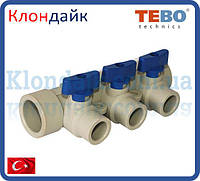 PPR Tebo Коллектор 32х20 на 3 контура синий