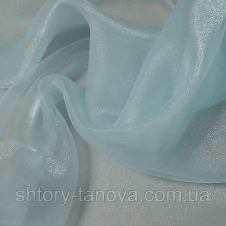 Органза снежок голубой