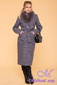 Длинное женское зимнее пальто с красивым мехом (р. S, М, L) арт. Габриэлла 3717 - 20162
