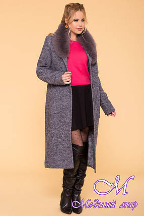 Длинное женское зимнее пальто с красивым мехом (р. S, М, L) арт. Габриэлла 3717 - 20162, фото 2