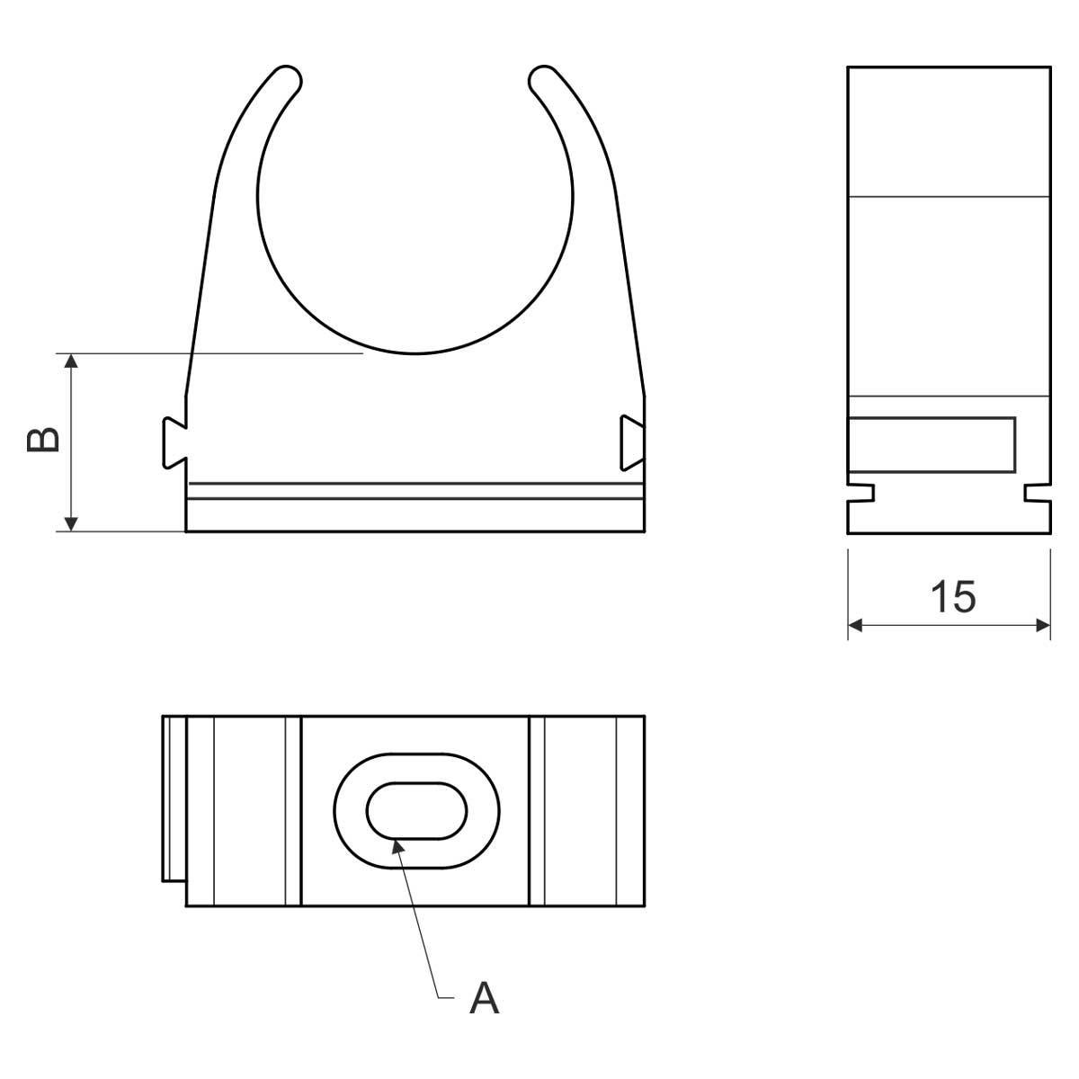 Кріплення труби 50 мм; Ø50мм; РС; безгалогенне; УФ-стійке; t застосування -45+90 °с; чорне;