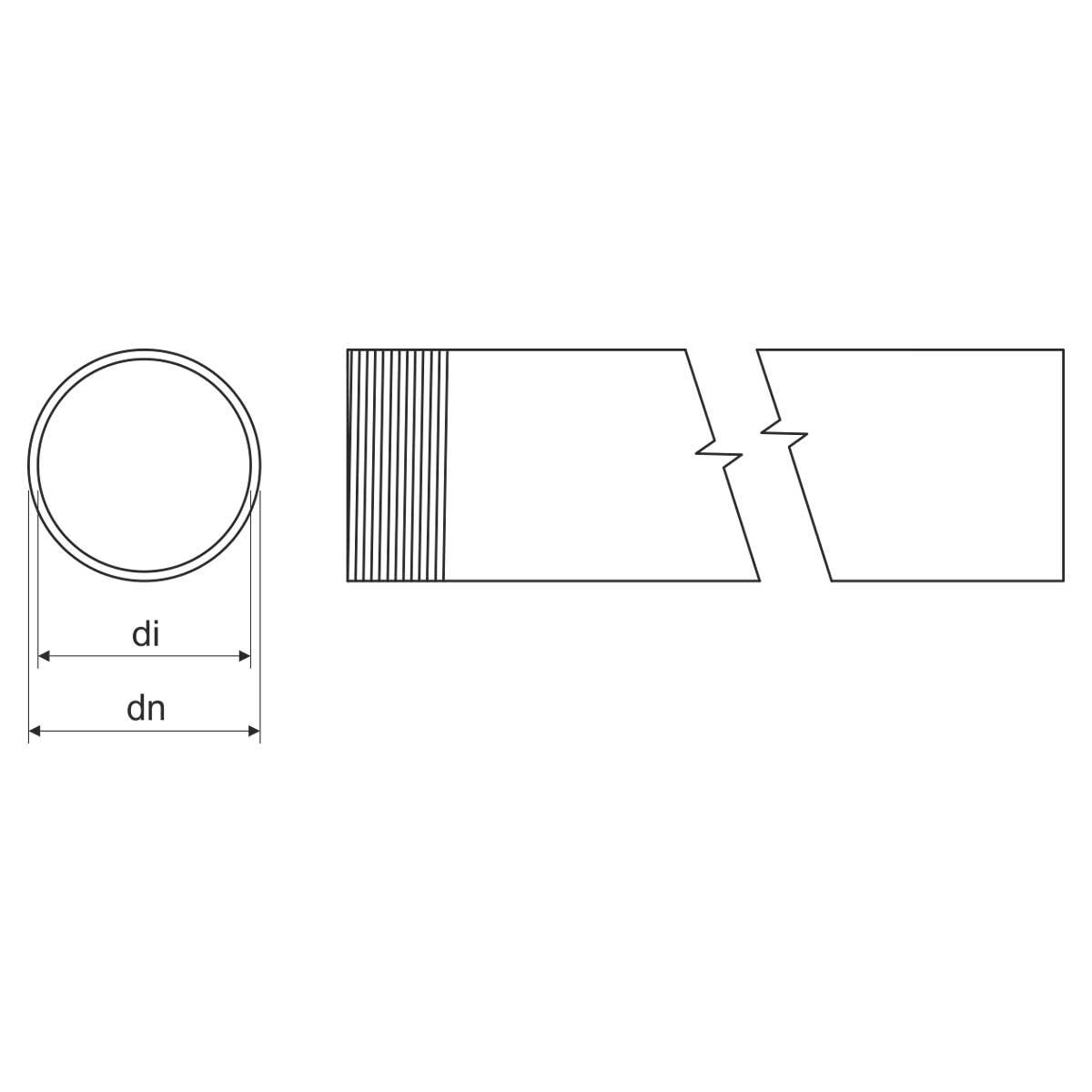 Труба сталева, гаряча оцинковка зануренням, з різьбою M63x1,5; з муфтою; діам зовн 63; внутр 58,8;  довжина 3м