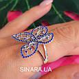 Серебряное родированное кольцо Бабочка, фото 9