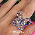 Серебряное родированное кольцо Бабочка, фото 8