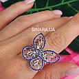 Серебряное родированное кольцо Бабочка, фото 5
