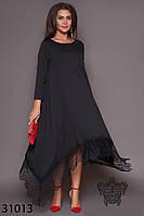 Платье свободное, с кружевом по низу-3 цвета 50-52,54-56,58-60,62-64р, фото 1