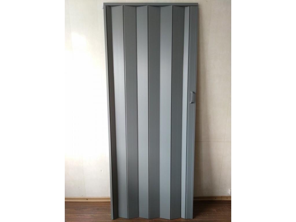 Дверь гармошка межкомнатная глухая, серый 915, 810*2030*6мм