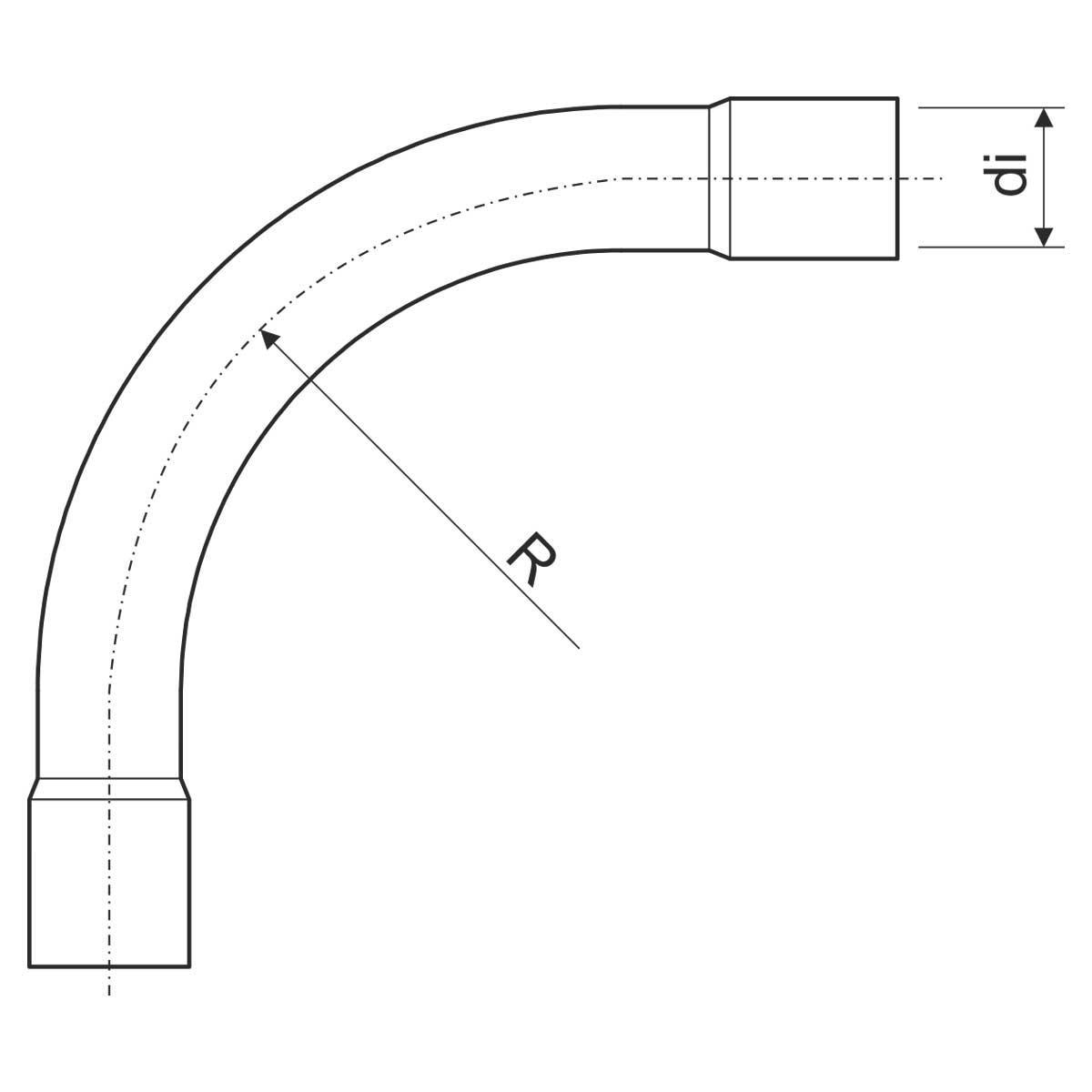 6332_ECZ Коліно для безрізьбової стальної труби фарбованої у чорний з обох сторін (EN)