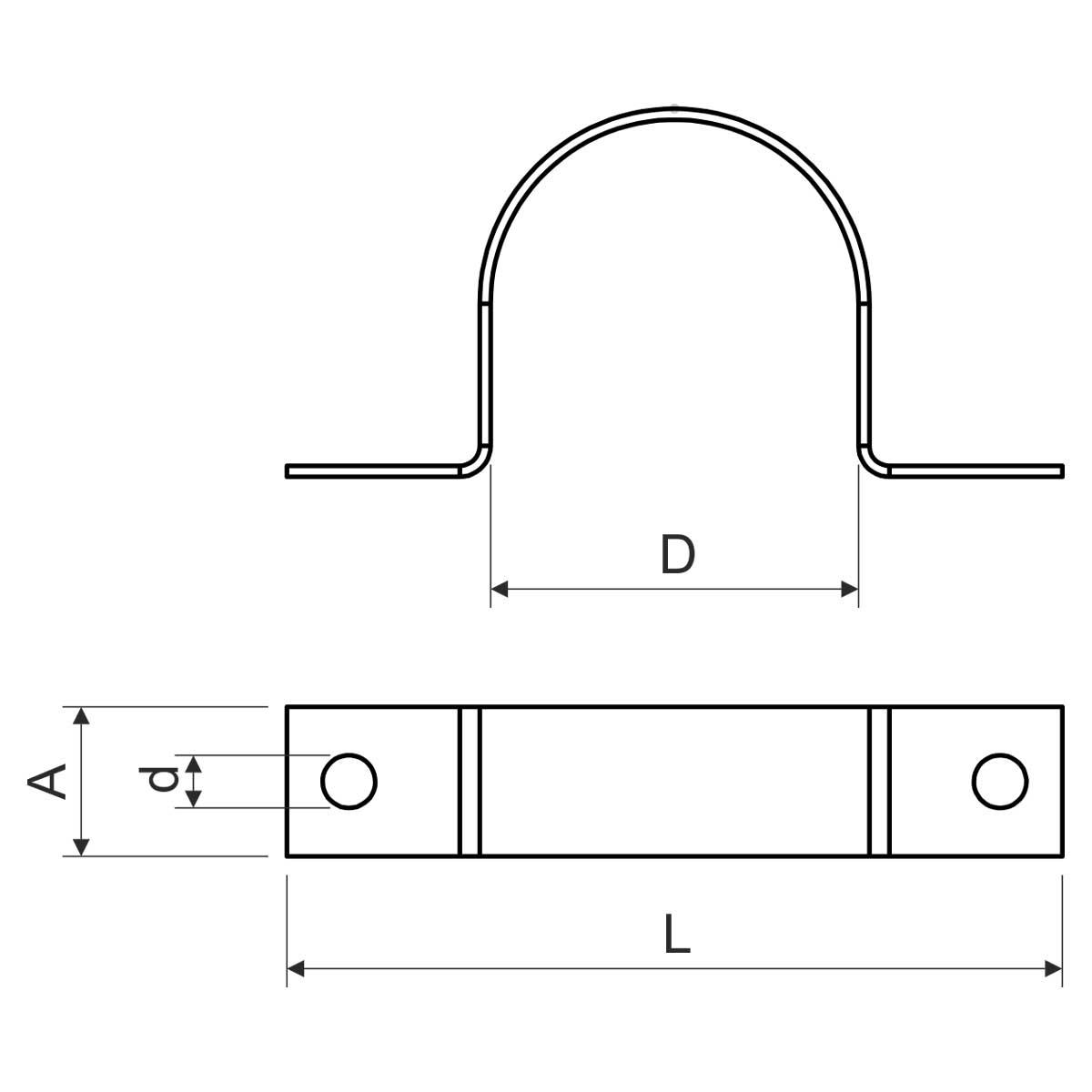 5225 PC ZN_F Односторонній хомут для металевих труб EN