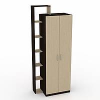 Шкаф-9 Компанит для спальни, двухдверный с открытыми полочками, лдсп