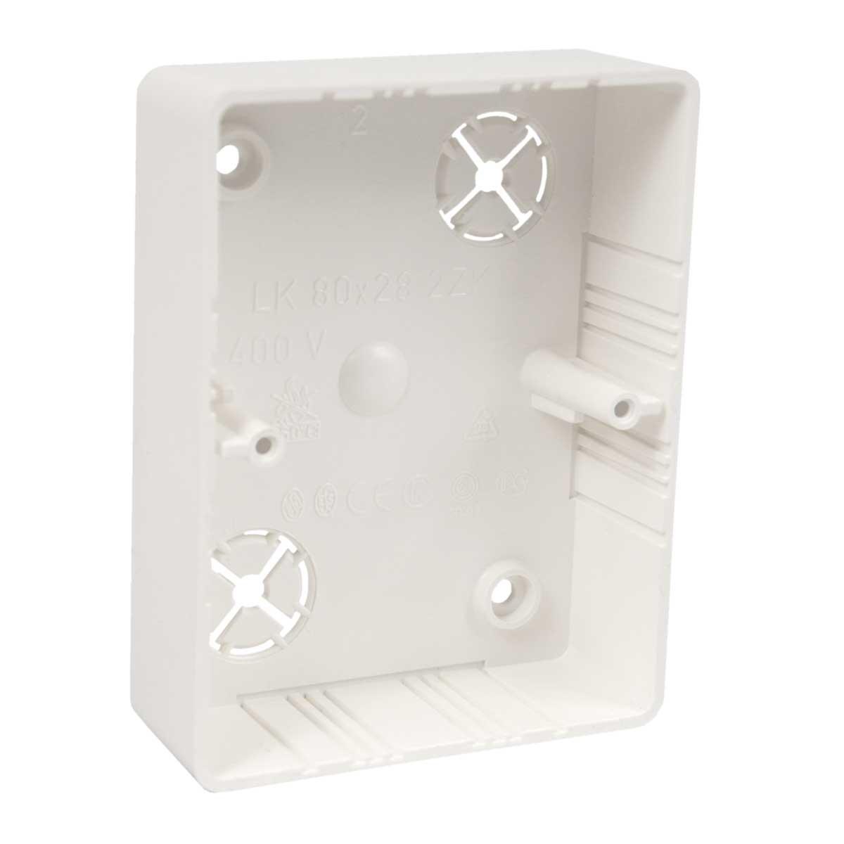 Коробка приладова подвійна  безгалогенна; розміри 104х80х28мм