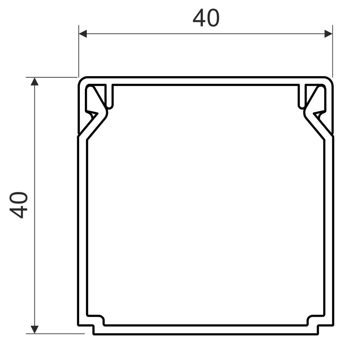 Кабельний канал з ПВХ білого кольору 40х40мм; Серія LHD; ПВХ