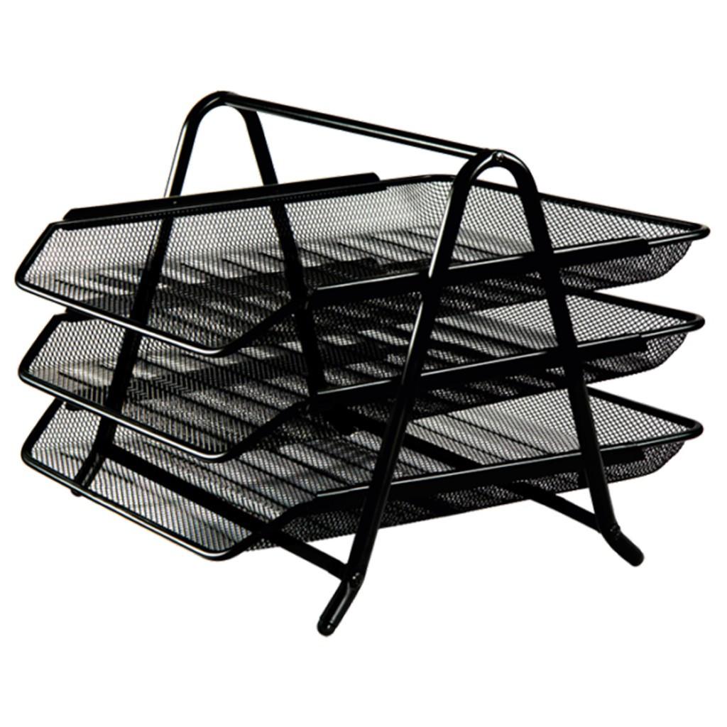 Лоток горизонтальный для бумаг тройной Optima, металл сетка, черный