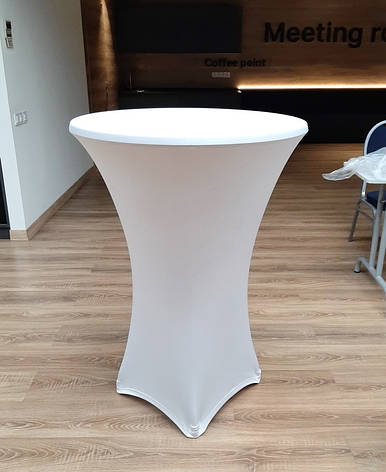 Стрейч чехол на стол 80/110 Белый из плотной ткани Спандекс, фото 2