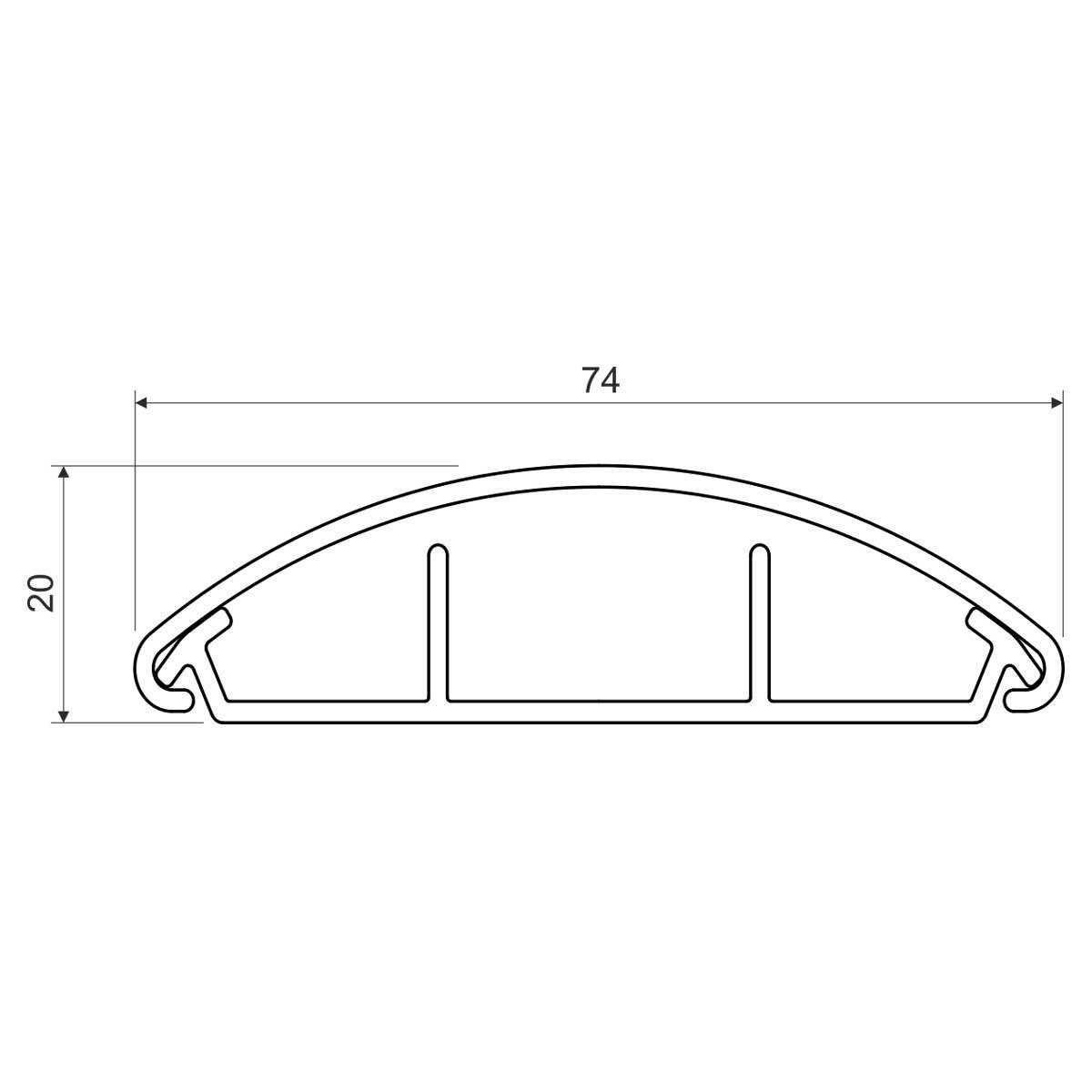 Кабельний канал (світло сірий) 74х20мм; Серія LО для підлоги; ПВХ