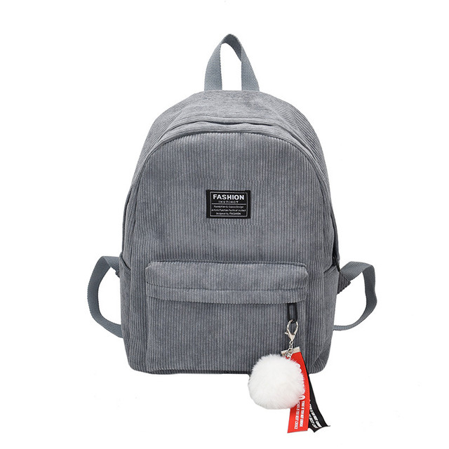 Вельветовый рюкзак серый