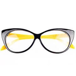 Очки Bananahall Cat Eye линзы прозрачные Черные с желтым bnnhll4180, КОД: 975289