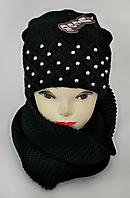 М 5043 Комплект жіночий: шапка+хомут,марс, фліс, розмір вільний, фото 1