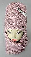 М 5044 Комплект жіночий-підлітковий шапка+хомут,марс, фліс, розмір вільний, фото 1