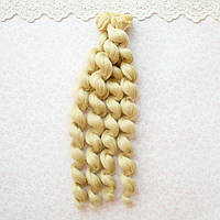 Волосы для кукол кудри в трессах, светлый пепельный блонд - 15 см