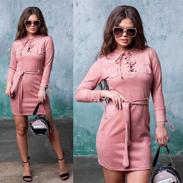 замшевое платье шнуровка оптом Arut оптовый интернет магазин женской одежды арут