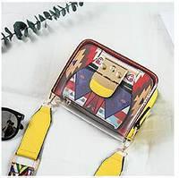 Яркая прозрачная маленькая женская сумка через плечо, желтая, фото 1