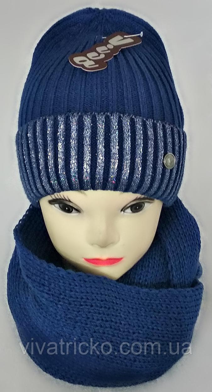 М 5047 Комплект для девочки шапка+хомут (3-12 лет), акрил, флис