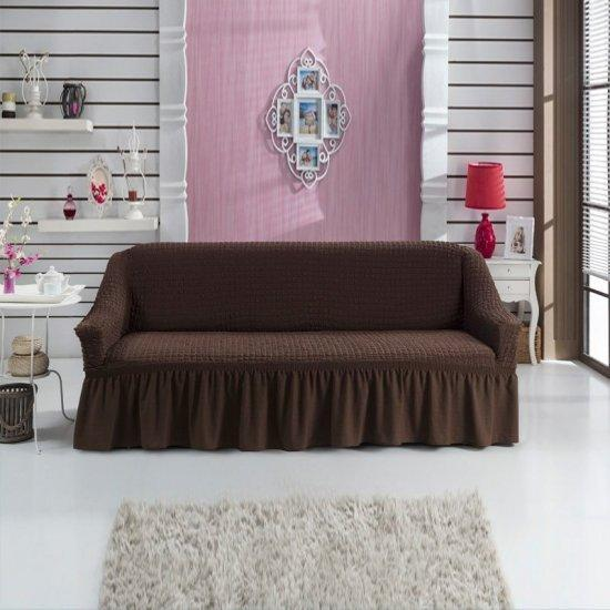 Турецкая накидка на трехместный диван, чехол для дивана с оборкой (Турция)