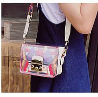 Яркая прозрачная маленькая женская сумка через плечо, белая, фото 1