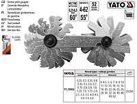 Резьбомер YATO Польща різьбомір метричний 60° WHITWORTH 55° 52 шаблони 0,25-6,0 мм 4-62 YT-29984