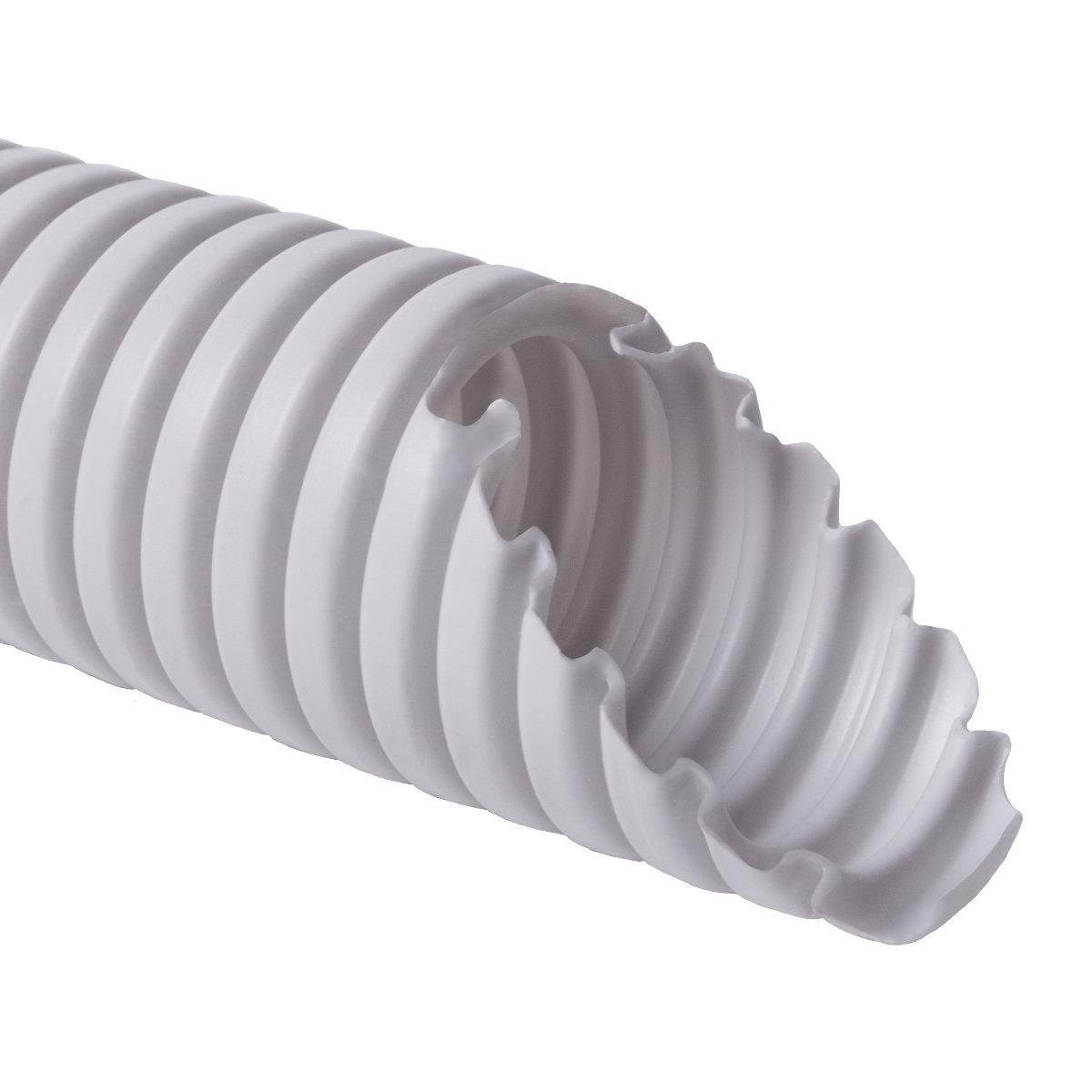 Труба гофрована електромонтажна з протяжкою 320 N/5см; Ø40мм; ПВХ; світло-сіра
