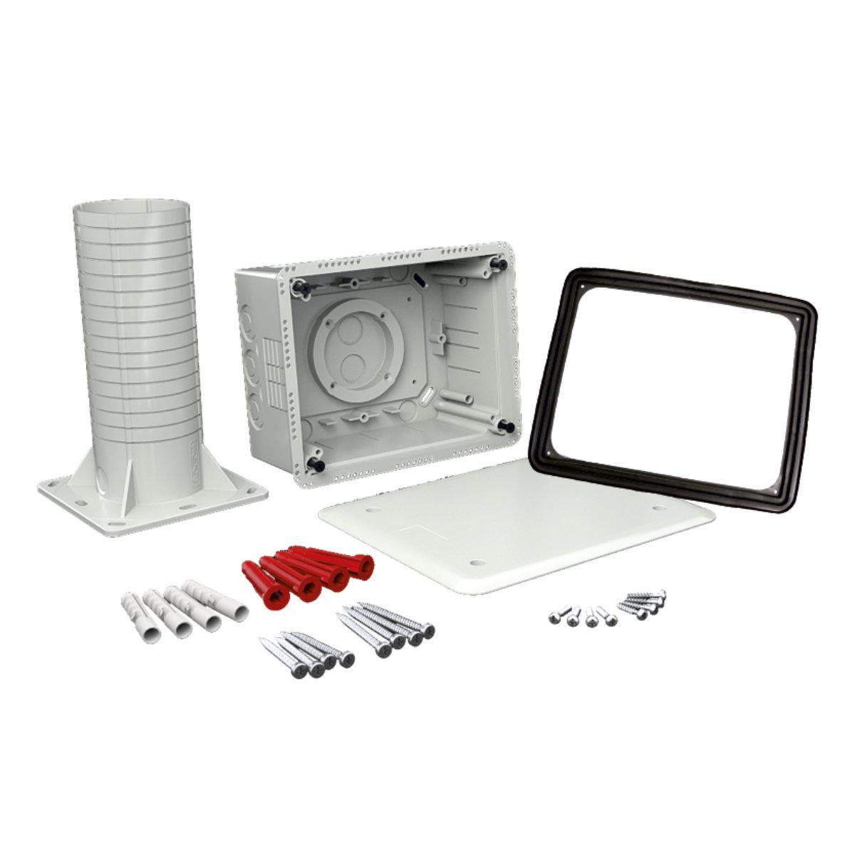 Коробка універсальна з кришкою та тубусом (використовується при термоізоляції будівель) Полікарбонат; розміри 170х210х330мм