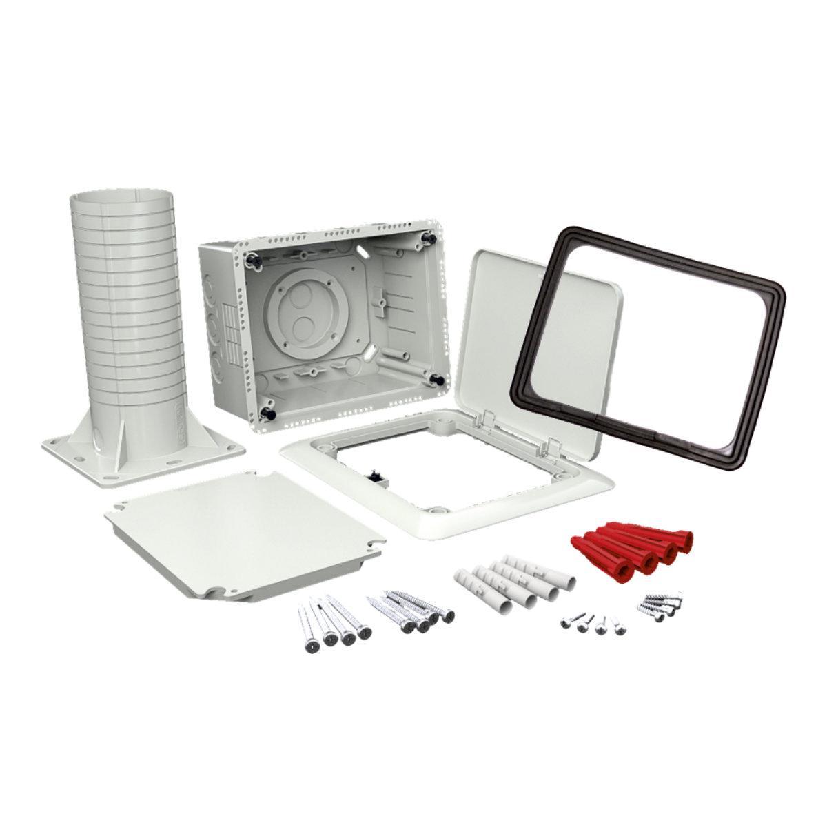 Коробка універсальна з відкидною кришкою та тубусом (використовується при термоізоляції будівель) Полікарбонат; розміри 170х210х330мм