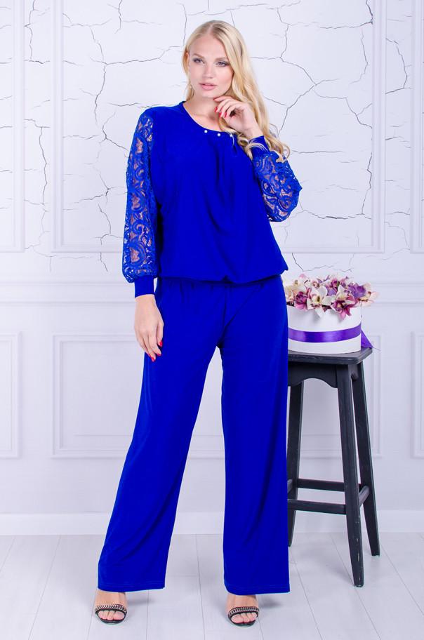 Женский костюм  брюки с блузой размер плюс Бьюти электрик (50-64)