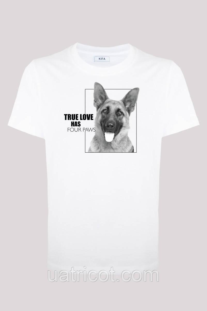 Футболка мужская KIFA ФМХ-017/69 TRUE LOVE HAS German Shepherd S белая