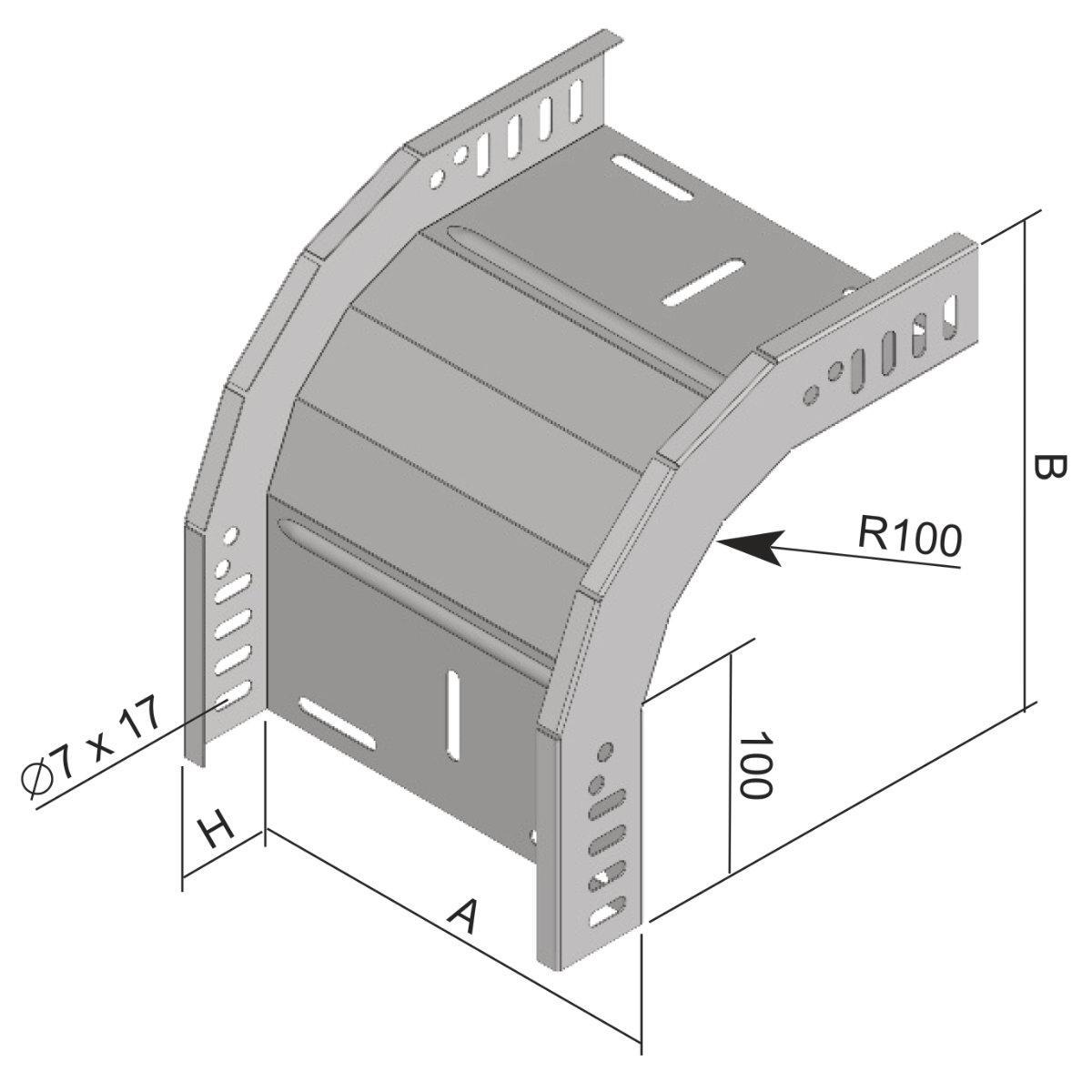 KO 90X35X400_S Вигин вертикальний зовнішній 90°