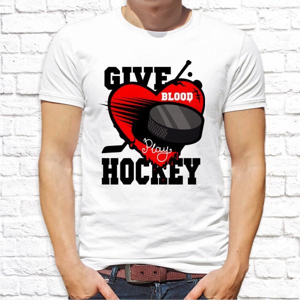 "Мужская футболка с принтом Шайба ""Give hockey"" Push IT"