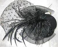 Шляпка с перьями и вуалью .Прокат 120 грн.