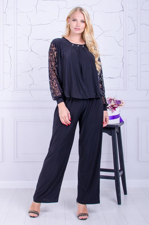 Женский костюм  брюки с блузой размер плюс Бьюти черный (50-64)