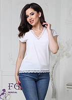 Майка - блузка женская с кружевом белая 066, фото 1