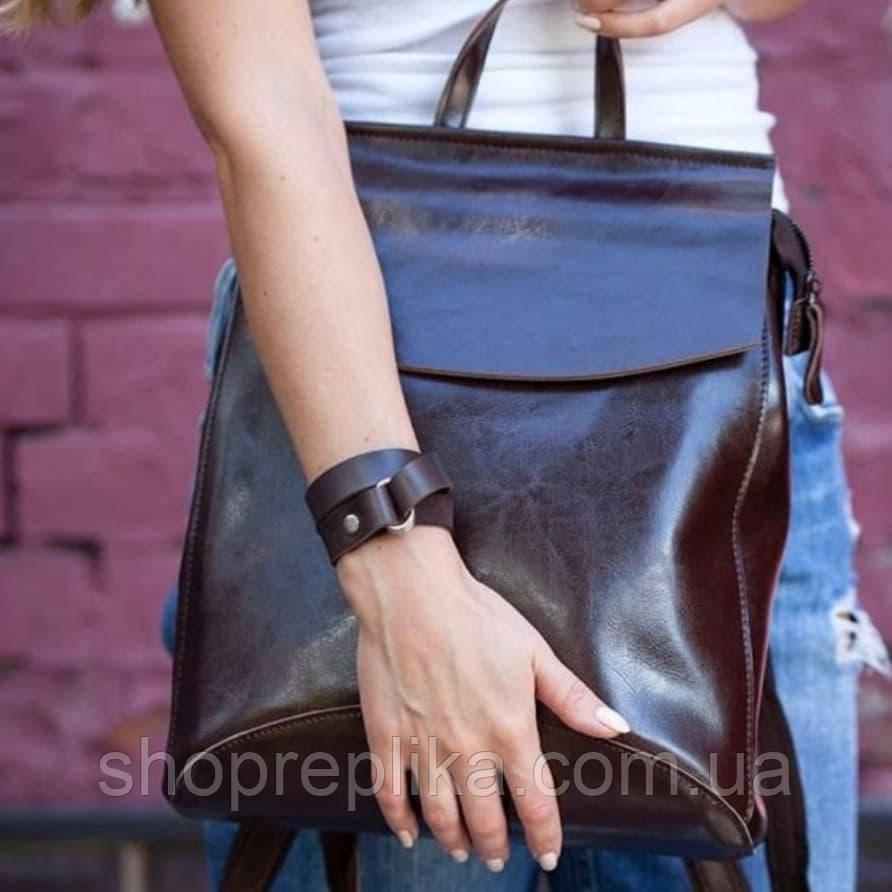 Женский Рюкзак трансформер кожа  , Натуральная кожа Кофе , коричневый