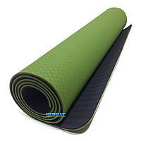 """Коврик для йоги и фитнеса, """"OING NIAO"""" 1830х800х6мм, TPE+TC, двухслойный"""